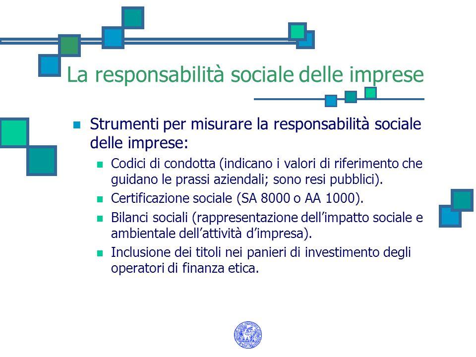 La responsabilità sociale delle imprese Strumenti per misurare la responsabilità sociale delle imprese: Codici di condotta (indicano i valori di rifer