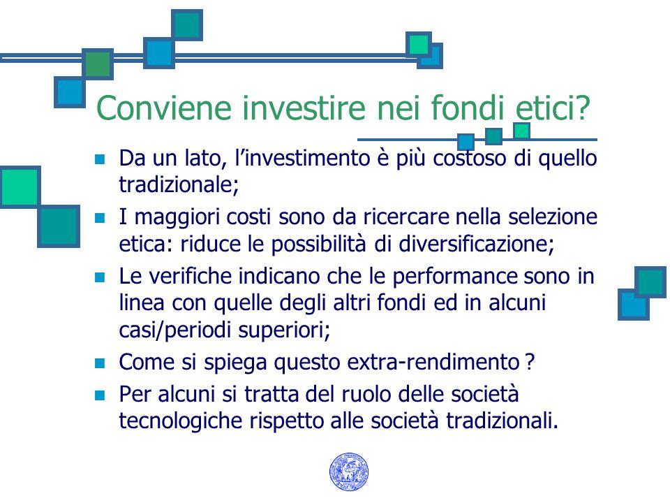Conviene investire nei fondi etici? Da un lato, linvestimento è più costoso di quello tradizionale; I maggiori costi sono da ricercare nella selezione