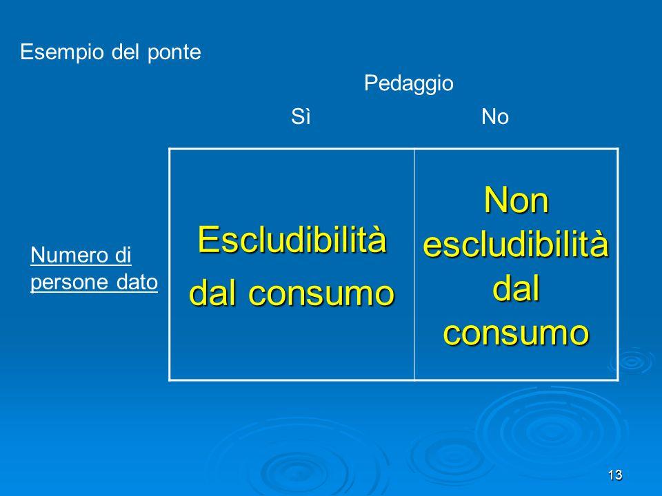13 Escludibilità dal consumo Non escludibilità dal consumo Pedaggio SìNo Numero di persone dato Esempio del ponte