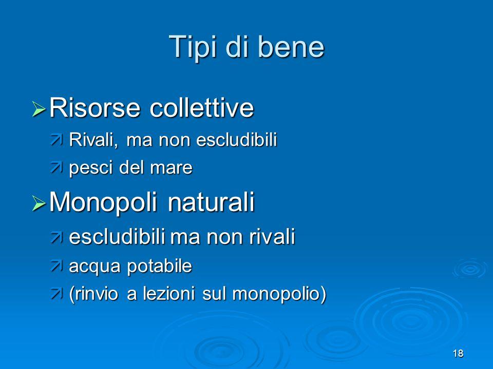 18 Tipi di bene Risorse collettive Risorse collettive Rivali, ma non escludibili Rivali, ma non escludibili pesci del mare pesci del mare Monopoli nat