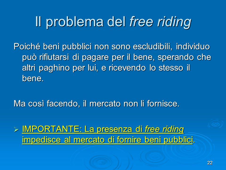 22 Il problema del free riding Poiché beni pubblici non sono escludibili, individuo può rifiutarsi di pagare per il bene, sperando che altri paghino p