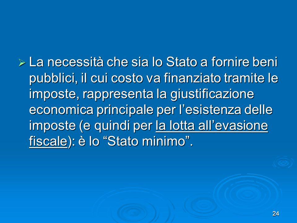 24 La necessità che sia lo Stato a fornire beni pubblici, il cui costo va finanziato tramite le imposte, rappresenta la giustificazione economica prin