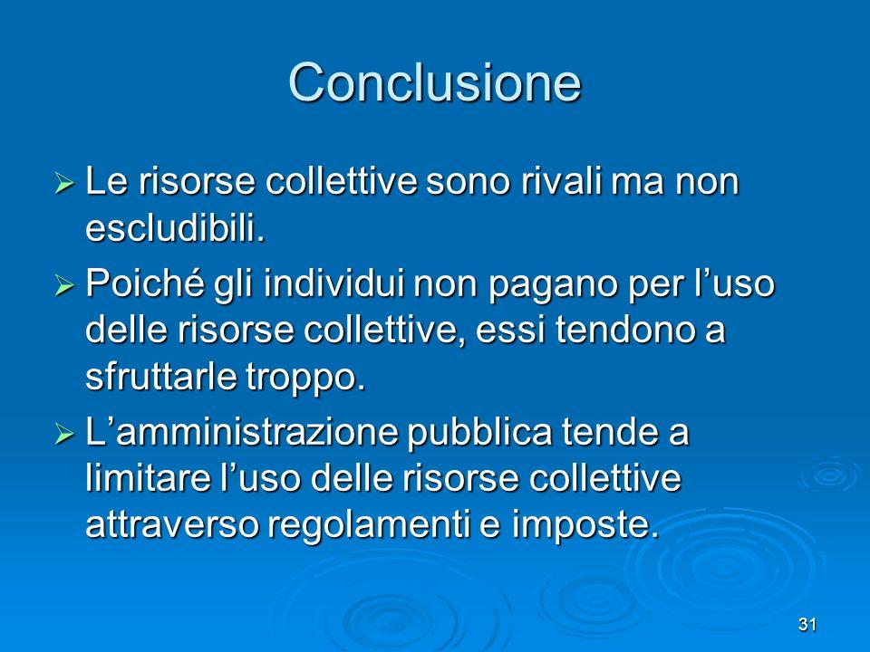 31 Conclusione Le risorse collettive sono rivali ma non escludibili. Le risorse collettive sono rivali ma non escludibili. Poiché gli individui non pa