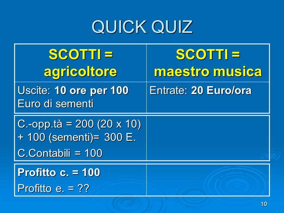 10 QUICK QUIZ SCOTTI = agricoltore SCOTTI = maestro musica Uscite: 10 ore per 100 Euro di sementi Entrate: 20 Euro/ora C.-opp.tà = 200 (20 x 10) + 100