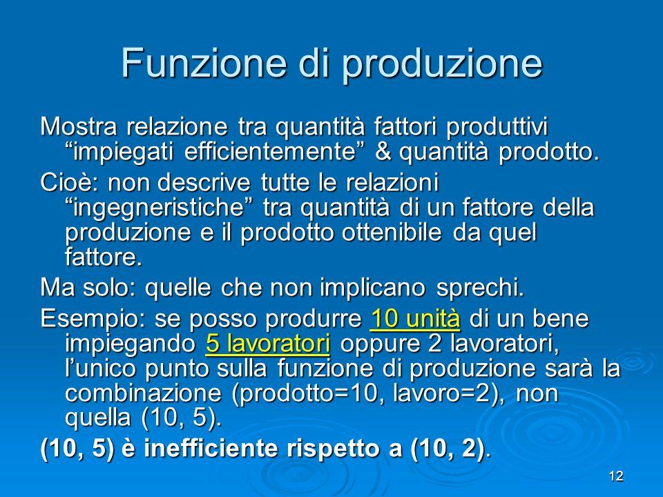 12 Funzione di produzione Mostra relazione tra quantità fattori produttivi impiegati efficientemente & quantità prodotto. Cioè: non descrive tutte le