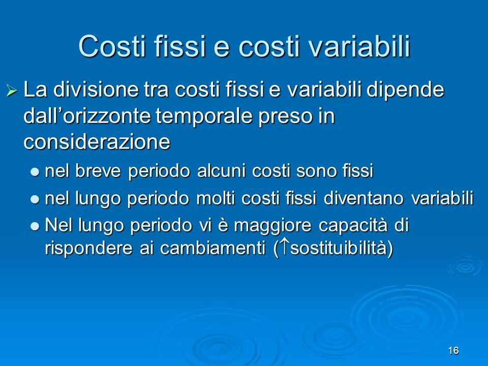 16 Costi fissi e costi variabili La divisione tra costi fissi e variabili dipende dallorizzonte temporale preso in considerazione La divisione tra cos