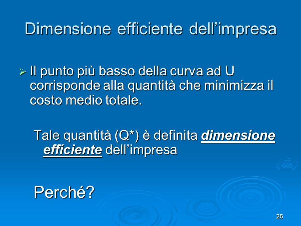 25 Dimensione efficiente dellimpresa Il punto più basso della curva ad U corrisponde alla quantità che minimizza il costo medio totale. Il punto più b