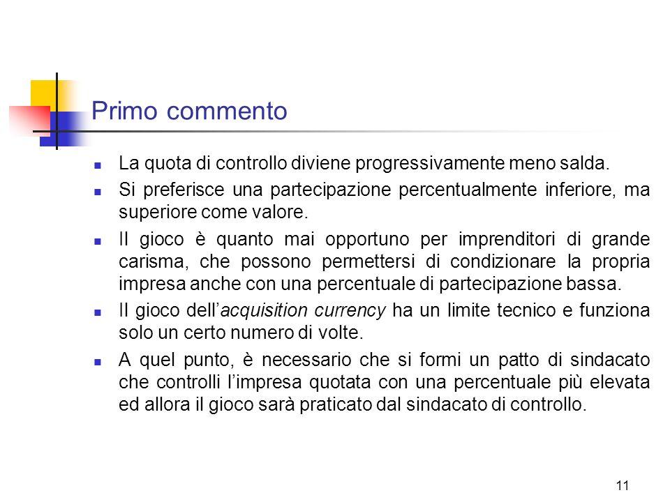 11 Primo commento La quota di controllo diviene progressivamente meno salda. Si preferisce una partecipazione percentualmente inferiore, ma superiore