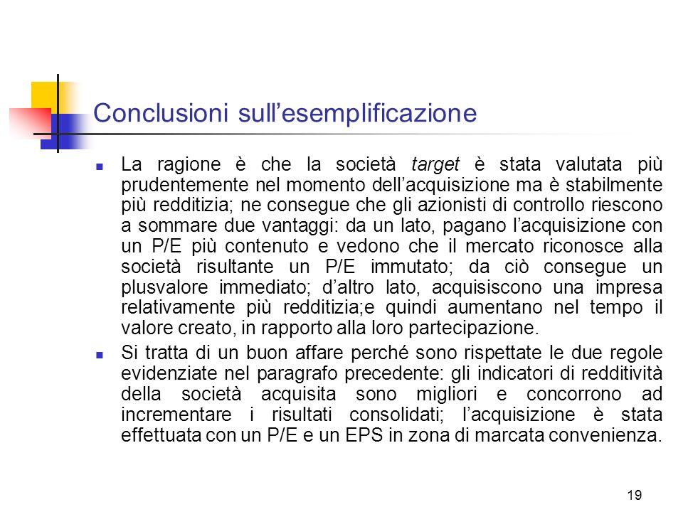 19 Conclusioni sullesemplificazione La ragione è che la società target è stata valutata più prudentemente nel momento dellacquisizione ma è stabilment