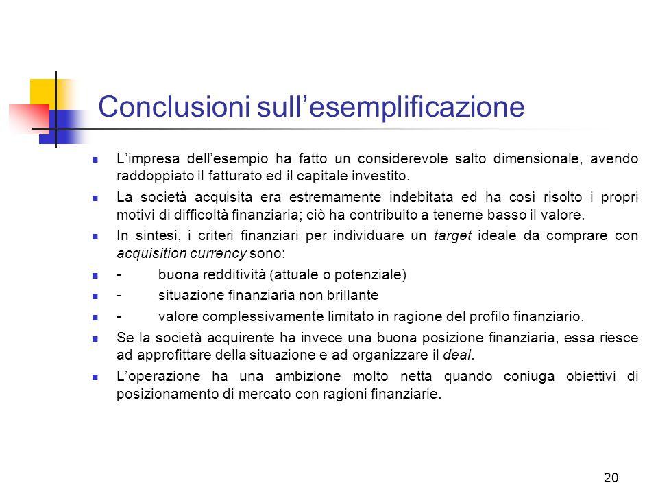 20 Conclusioni sullesemplificazione Limpresa dellesempio ha fatto un considerevole salto dimensionale, avendo raddoppiato il fatturato ed il capitale