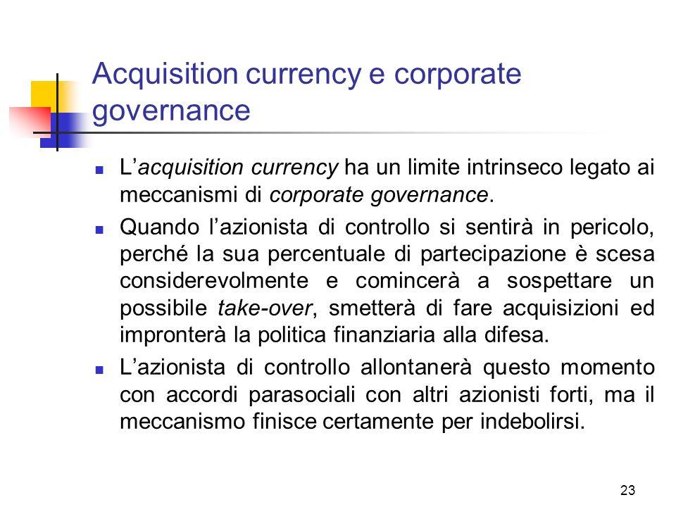 23 Acquisition currency e corporate governance Lacquisition currency ha un limite intrinseco legato ai meccanismi di corporate governance.