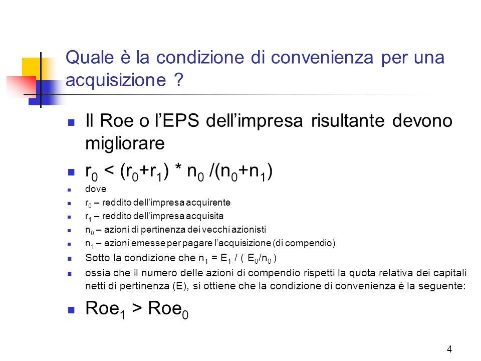 4 Quale è la condizione di convenienza per una acquisizione ? Il Roe o lEPS dellimpresa risultante devono migliorare r 0 < (r 0 +r 1 ) * n 0 /(n 0 +n