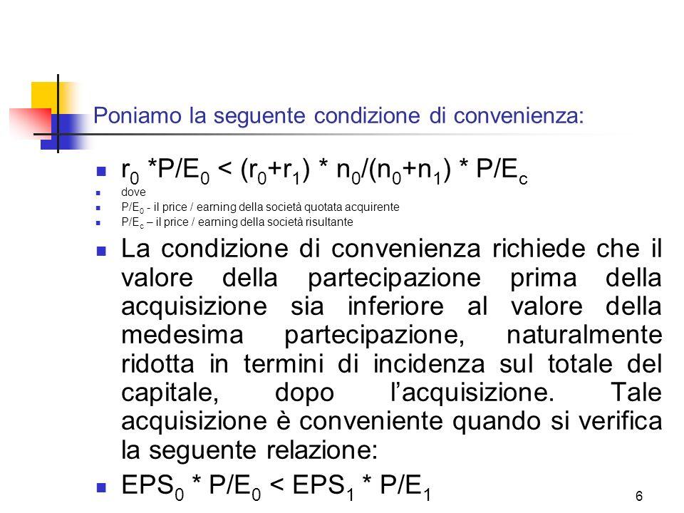 6 Poniamo la seguente condizione di convenienza: r 0 *P/E 0 < (r 0 +r 1 ) * n 0 /(n 0 +n 1 ) * P/E c dove P/E 0 - il price / earning della società quotata acquirente P/E c – il price / earning della società risultante La condizione di convenienza richiede che il valore della partecipazione prima della acquisizione sia inferiore al valore della medesima partecipazione, naturalmente ridotta in termini di incidenza sul totale del capitale, dopo lacquisizione.