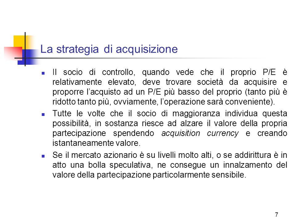 7 La strategia di acquisizione Il socio di controllo, quando vede che il proprio P/E è relativamente elevato, deve trovare società da acquisire e prop