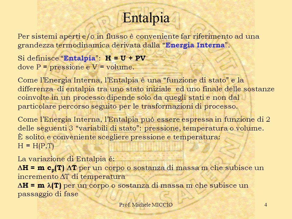 Prof. Michele MICCIO5 Prof. RIVA Bilanci di Energia http://users.unimi.it/~mriva/index1.htm