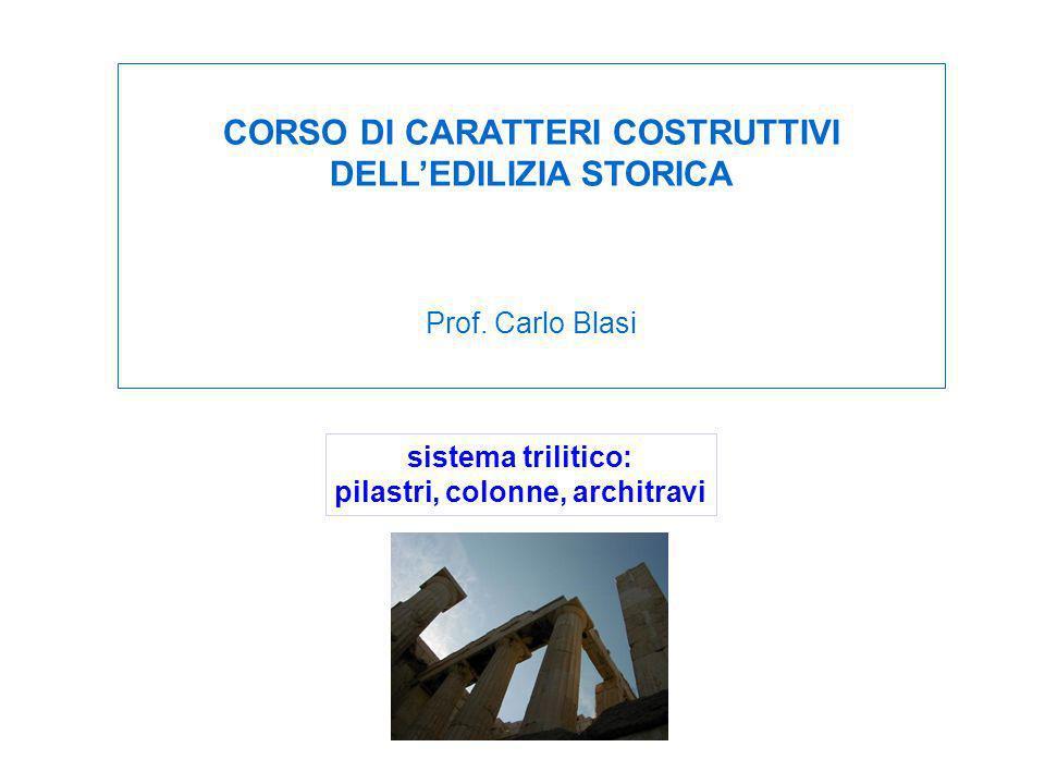 sistema trilitico: pilastri, colonne, architravi CORSO DI CARATTERI COSTRUTTIVI DELLEDILIZIA STORICA Prof. Carlo Blasi