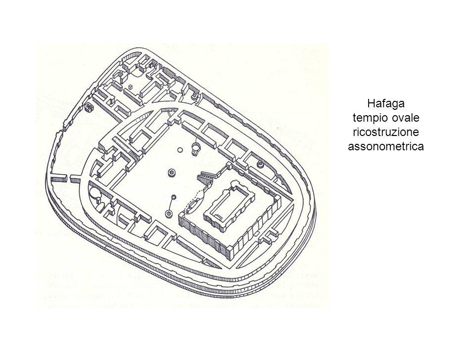 Hafaga tempio ovale ricostruzione assonometrica