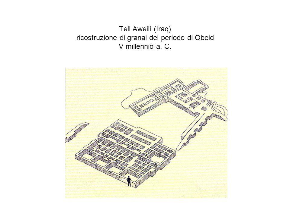 Tell Aweili (Iraq) ricostruzione di granai del periodo di Obeid V millennio a. C.