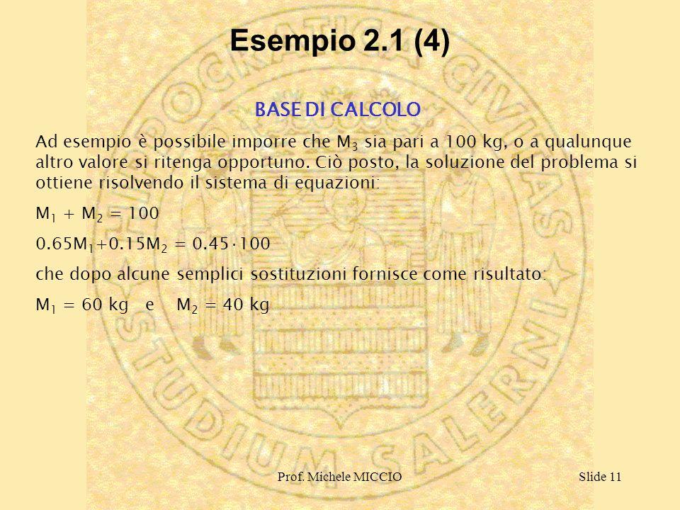 Prof. Michele MICCIOSlide 11 Esempio 2.1 (4) BASE DI CALCOLO Ad esempio è possibile imporre che M 3 sia pari a 100 kg, o a qualunque altro valore si r