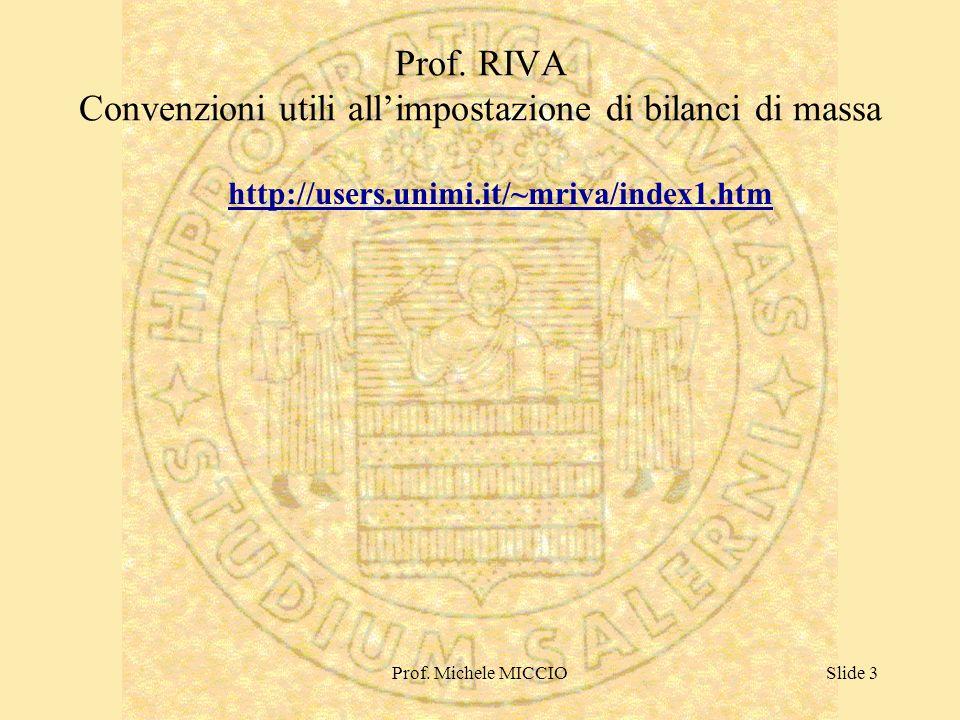 Prof. Michele MICCIOSlide 3 Prof. RIVA Convenzioni utili allimpostazione di bilanci di massa http://users.unimi.it/~mriva/index1.htm