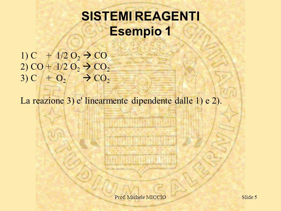 Prof. Michele MICCIOSlide 5 1) C + 1/2 O 2 CO 2) CO + 1/2 O 2 CO 2 3) C + O 2 CO 2 La reazione 3) e' linearmente dipendente dalle 1) e 2). SISTEMI REA