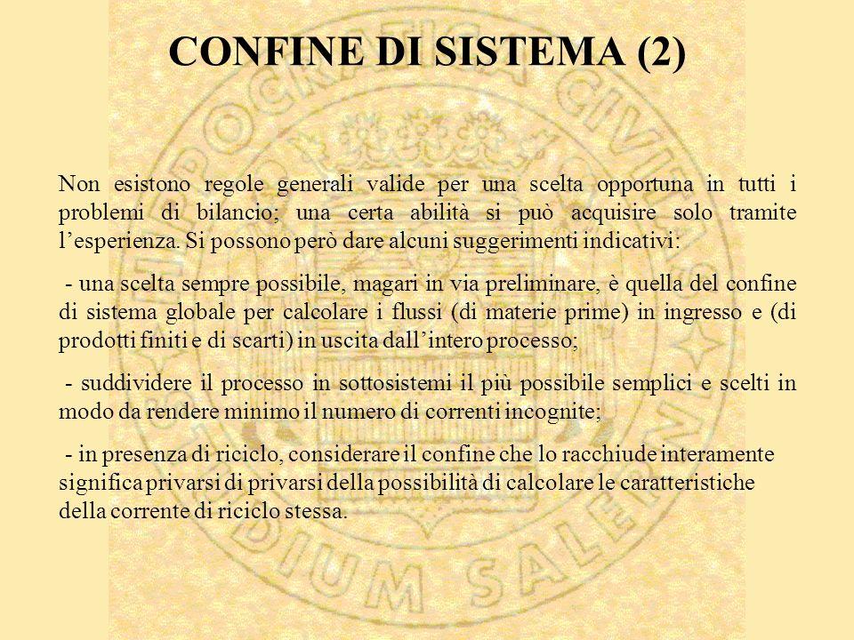 CONFINE DI SISTEMA (2) Non esistono regole generali valide per una scelta opportuna in tutti i problemi di bilancio; una certa abilità si può acquisire solo tramite lesperienza.