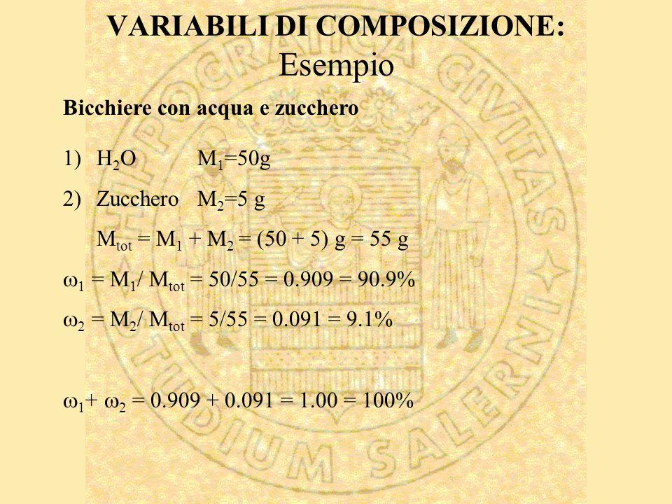 VARIABILI DI COMPOSIZIONE: Esempio 1)H 2 OM 1 =50g 2)ZuccheroM 2 =5 g M tot = M 1 + M 2 = (50 + 5) g = 55 g 1 = M 1 / M tot = 50/55 = 0.909 = 90.9% 2 = M 2 / M tot = 5/55 = 0.091 = 9.1% 1 + 2 = 0.909 + 0.091 = 1.00 = 100% Bicchiere con acqua e zucchero