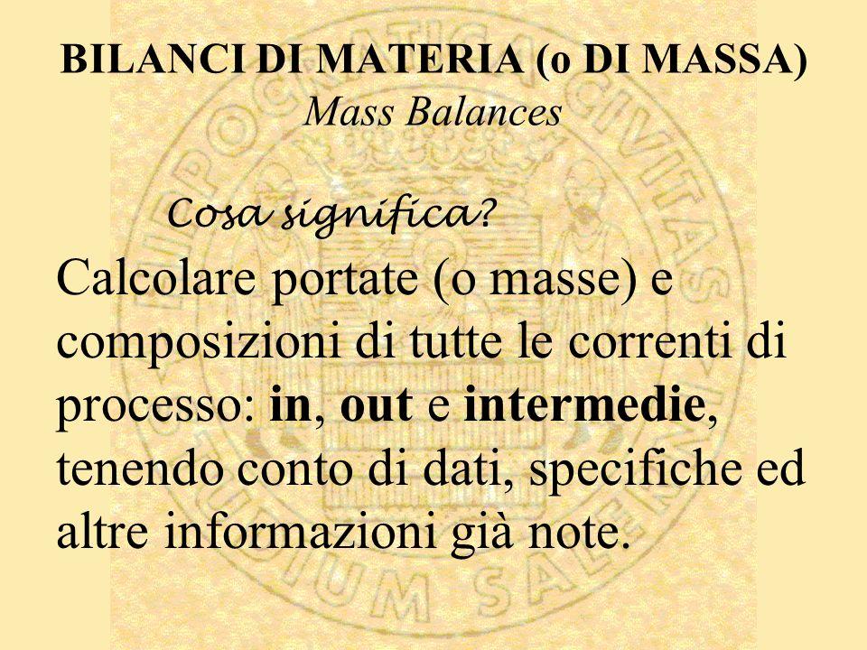 BILANCI DI MATERIA (o DI MASSA) Mass Balances Calcolare portate (o masse) e composizioni di tutte le correnti di processo: in, out e intermedie, tenendo conto di dati, specifiche ed altre informazioni già note.