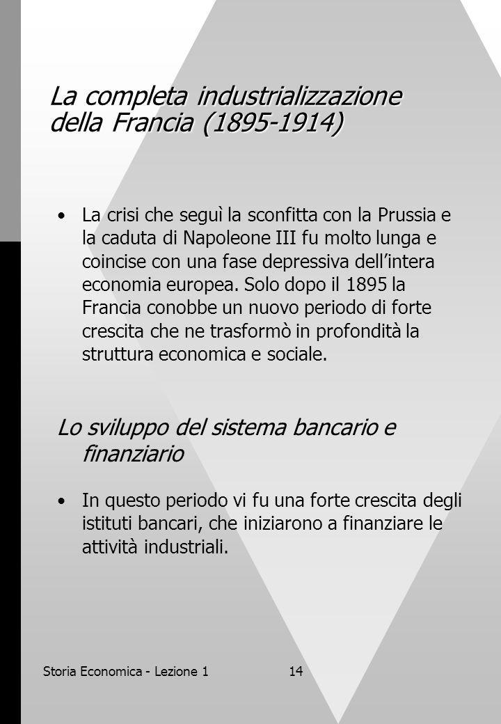 Storia Economica - Lezione 114 La completa industrializzazione della Francia (1895-1914) La crisi che seguì la sconfitta con la Prussia e la caduta di