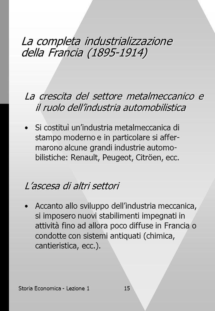 Storia Economica - Lezione 115 La completa industrializzazione della Francia (1895-1914) La crescita del settore metalmeccanico e il ruolo dellindustria automobilistica Si costituì unindustria metalmeccanica di stampo moderno e in particolare si affer- marono alcune grandi industrie automo- bilistiche: Renault, Peugeot, Citröen, ecc.
