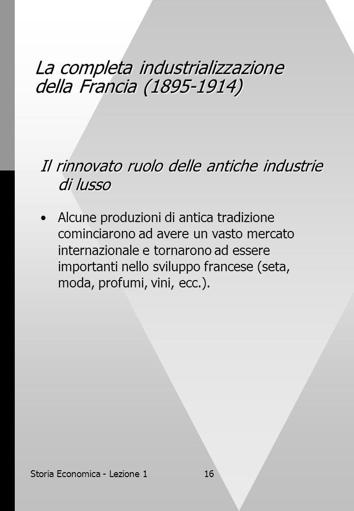 Storia Economica - Lezione 116 La completa industrializzazione della Francia (1895-1914) Il rinnovato ruolo delle antiche industrie di lusso Alcune pr