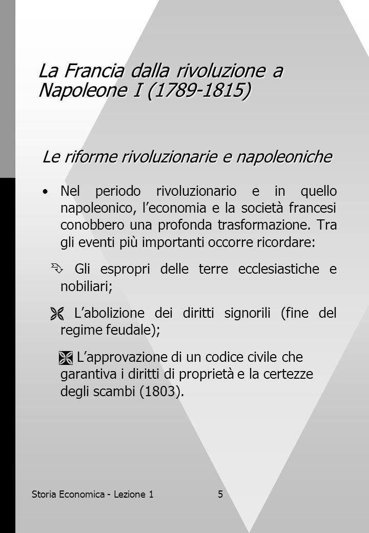Storia Economica - Lezione 15 La Francia dalla rivoluzione a Napoleone I (1789-1815) Le riforme rivoluzionarie e napoleoniche Nel periodo rivoluzionario e in quello napoleonico, leconomia e la società francesi conobbero una profonda trasformazione.
