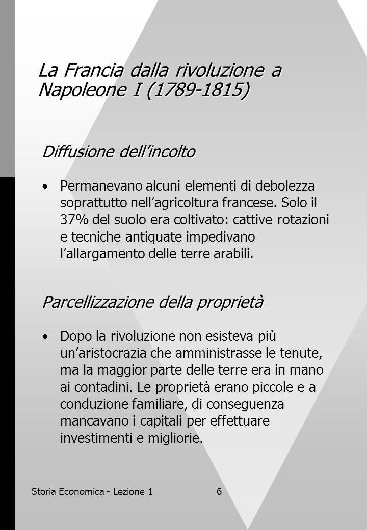 Storia Economica - Lezione 16 La Francia dalla rivoluzione a Napoleone I (1789-1815) Diffusione dellincolto Permanevano alcuni elementi di debolezza s