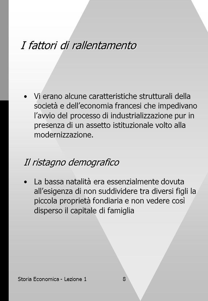 Storia Economica - Lezione 18 I fattori di rallentamento Vi erano alcune caratteristiche strutturali della società e delleconomia francesi che impedivano lavvio del processo di industrializzazione pur in presenza di un assetto istituzionale volto alla modernizzazione.