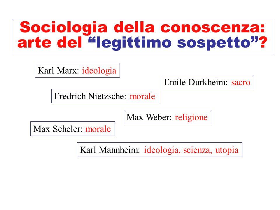 Sociologia della conoscenza: arte del legittimo sospetto? Karl Marx: ideologia, falsa coscienza Fredrich Nietzsche: risentimento (ripreso da Max Schel