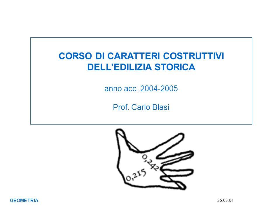 CORSO DI CARATTERI COSTRUTTIVI DELLEDILIZIA STORICA anno acc. 2004-2005 Prof. Carlo Blasi GEOMETRIA 26.03.04