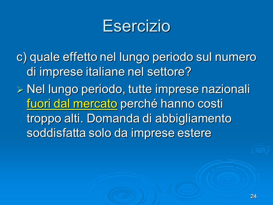 24 c) quale effetto nel lungo periodo sul numero di imprese italiane nel settore? Nel lungo periodo, tutte imprese nazionali fuori dal mercato perché