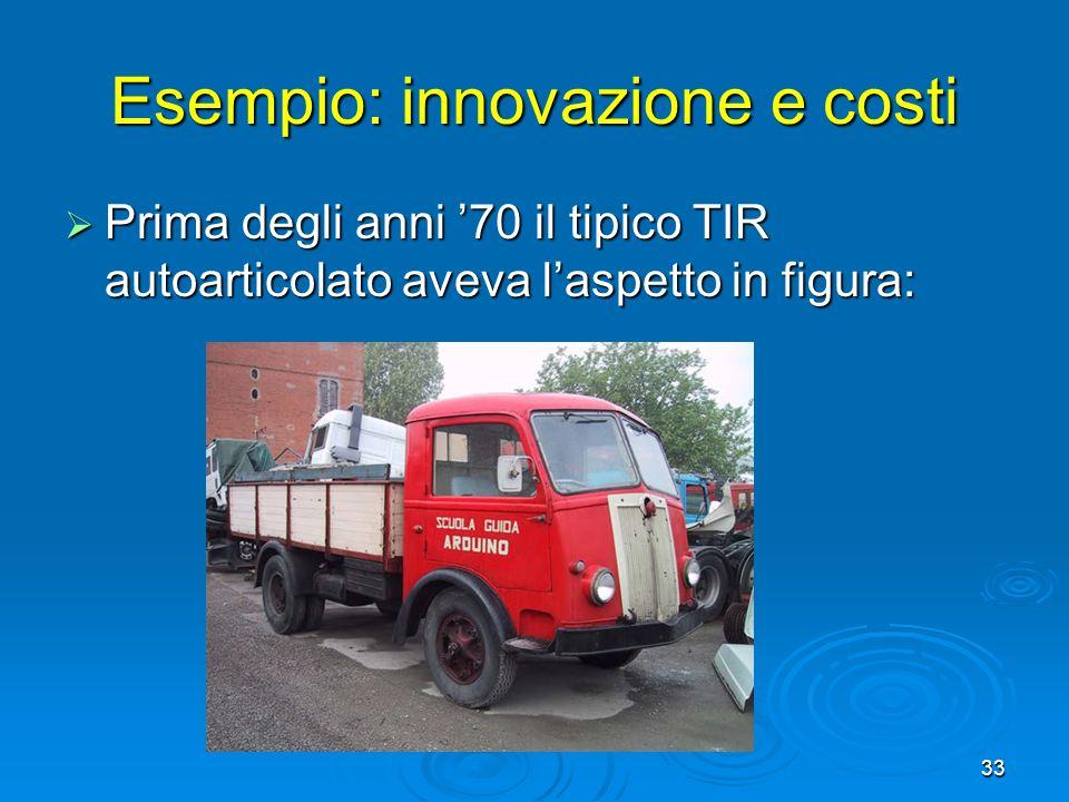 33 Esempio: innovazione e costi Prima degli anni 70 il tipico TIR autoarticolato aveva laspetto in figura: Prima degli anni 70 il tipico TIR autoartic