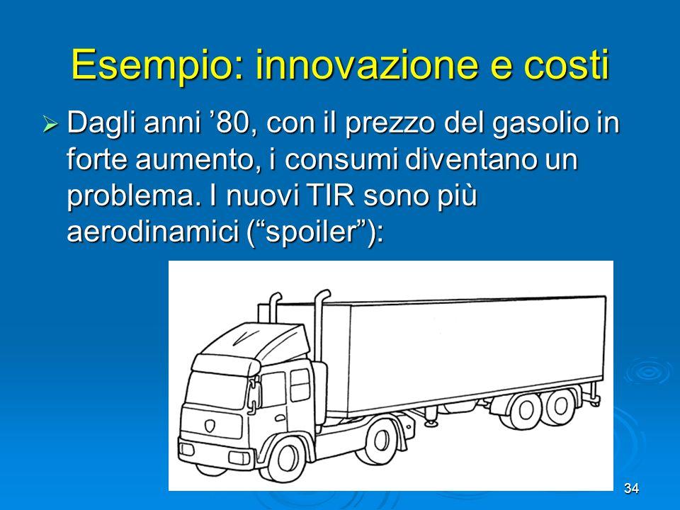 34 Esempio: innovazione e costi Dagli anni 80, con il prezzo del gasolio in forte aumento, i consumi diventano un problema. I nuovi TIR sono più aerod