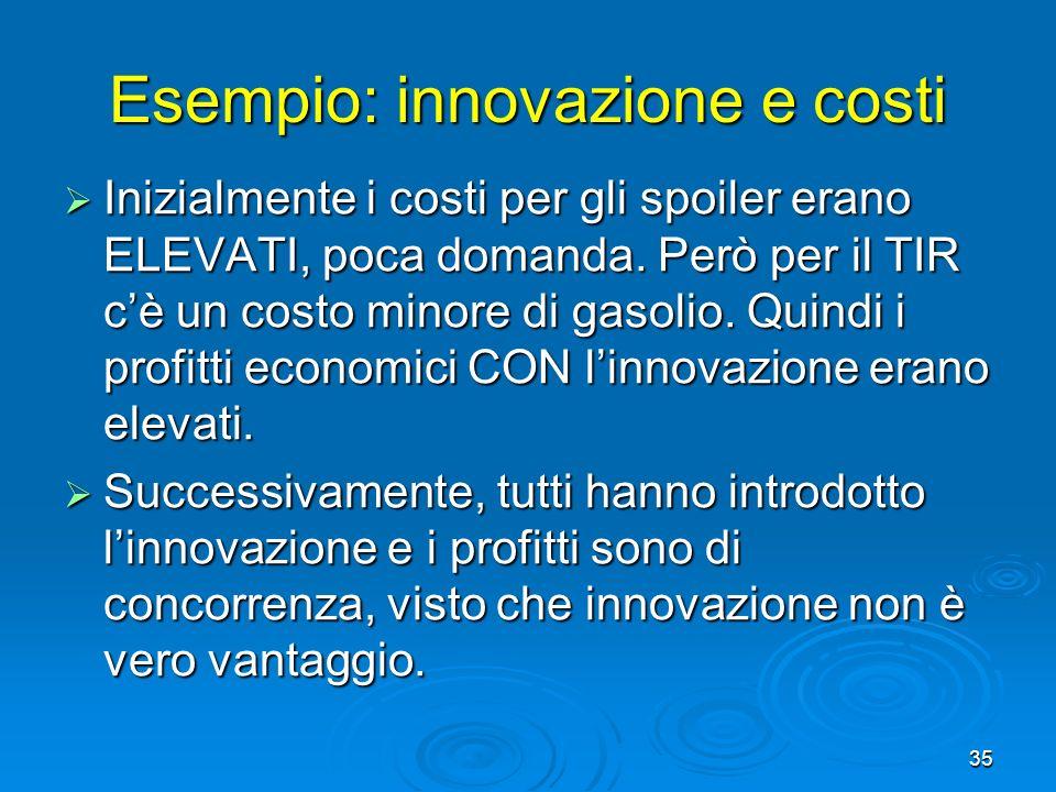 35 Esempio: innovazione e costi Inizialmente i costi per gli spoiler erano ELEVATI, poca domanda. Però per il TIR cè un costo minore di gasolio. Quind
