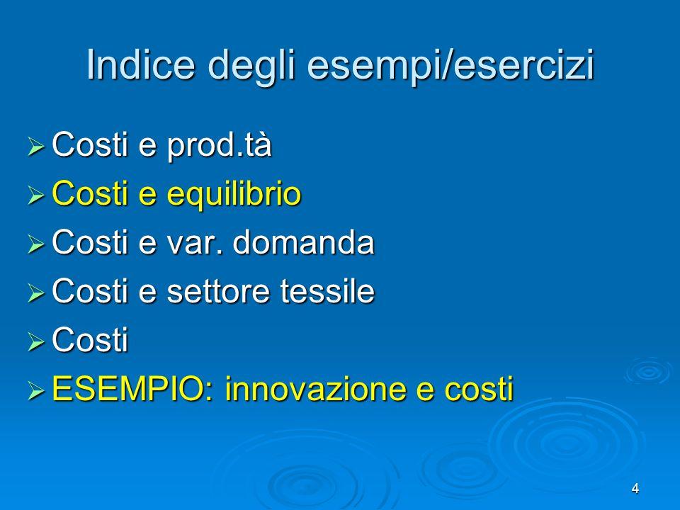 35 Esempio: innovazione e costi Inizialmente i costi per gli spoiler erano ELEVATI, poca domanda.