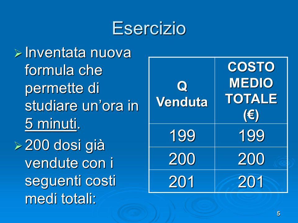 6 Se un nuovo cliente offrisse 300 euro per una dose in più, si dovrebbe decidere di produrla.
