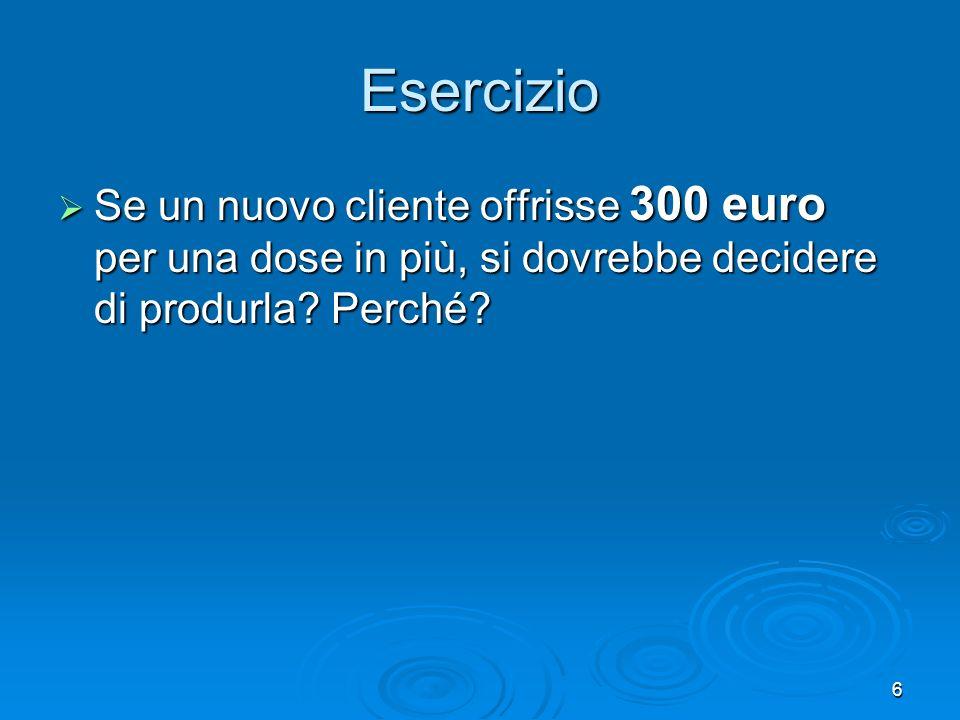 7 Ad un costo medio di 200 euro per 200 unità, il Costo Totale è 40.000 euro.