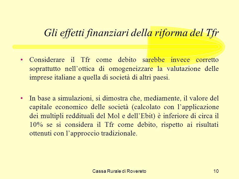 Cassa Rurale di Rovereto10 Gli effetti finanziari della riforma del Tfr Considerare il Tfr come debito sarebbe invece corretto soprattutto nellottica di omogeneizzare la valutazione delle imprese italiane a quella di società di altri paesi.