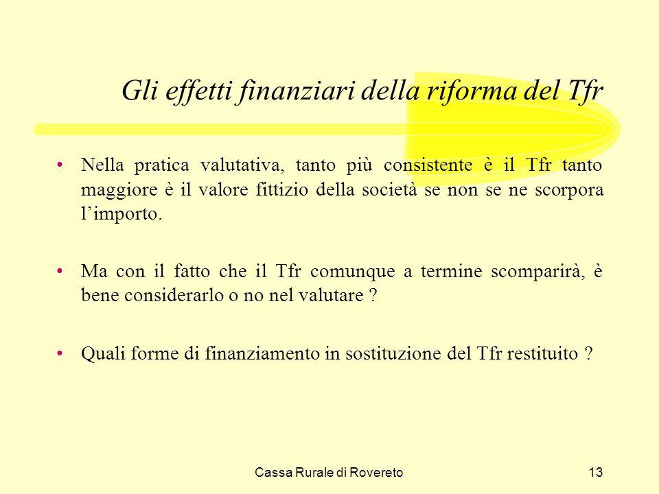 Cassa Rurale di Rovereto13 Gli effetti finanziari della riforma del Tfr Nella pratica valutativa, tanto più consistente è il Tfr tanto maggiore è il valore fittizio della società se non se ne scorpora limporto.