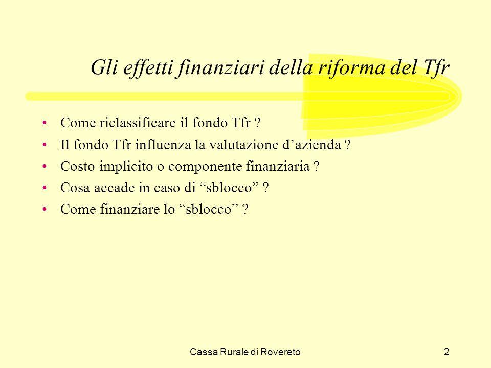 Cassa Rurale di Rovereto3 Gli effetti finanziari della riforma del Tfr Il Tfr, nella attuale configurazione, è stato istituito dalla legge 29 maggio 1982 n.