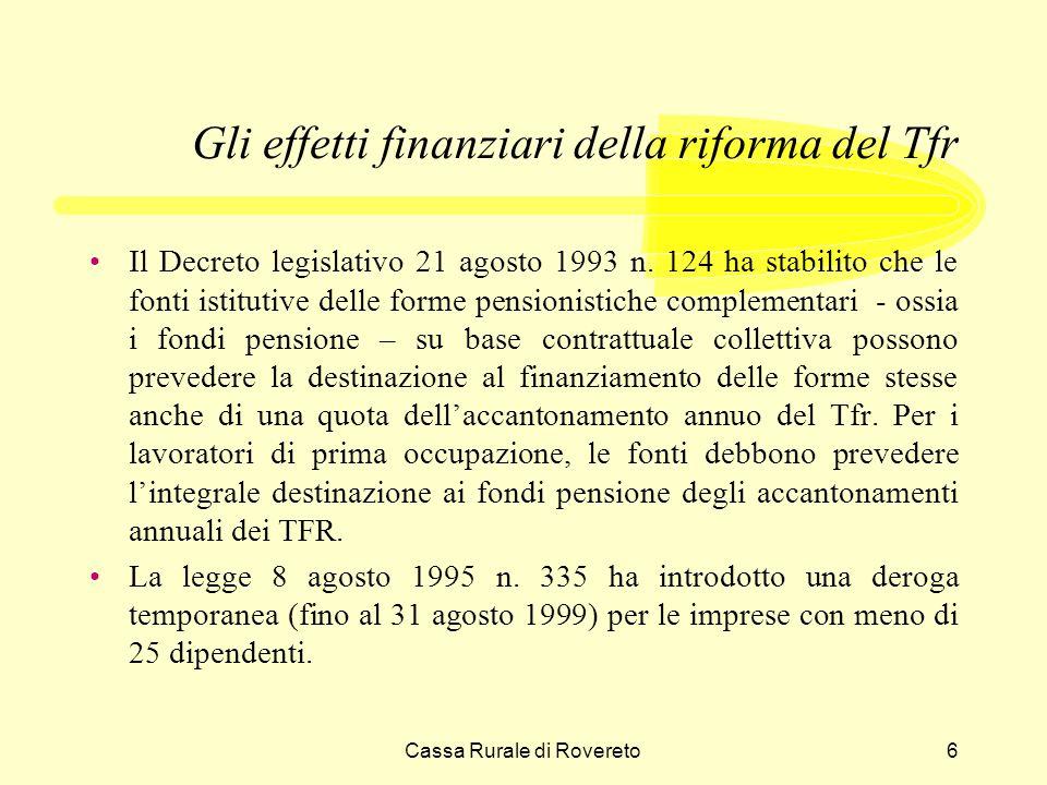 Cassa Rurale di Rovereto7 Gli effetti finanziari della riforma del Tfr Il disegno di legge delega del febbraio 2000 cambia la situazione in modo radicale.