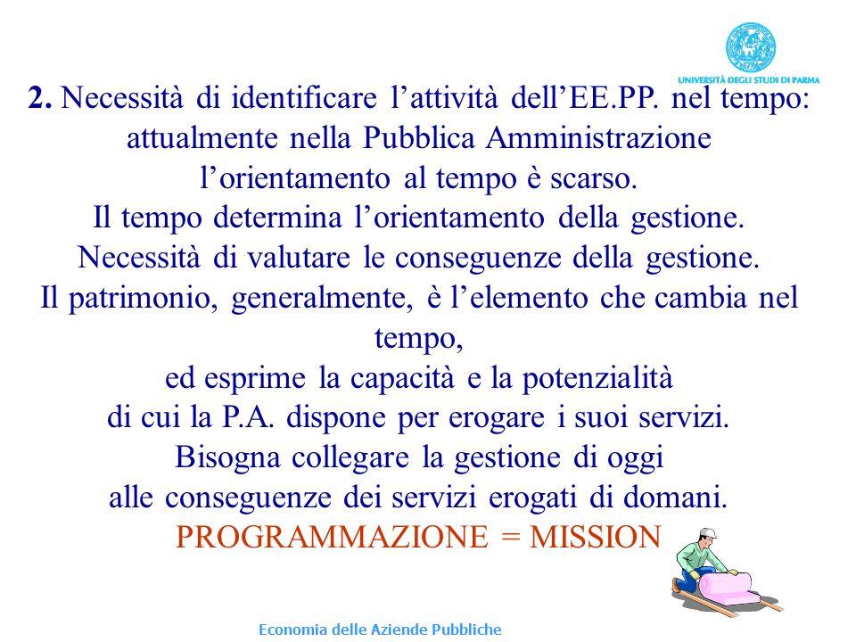Economia delle Aziende Pubbliche 2. Necessità di identificare lattività dellEE.PP.