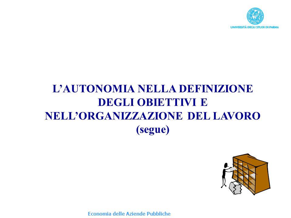 Economia delle Aziende Pubbliche LAUTONOMIA NELLA DEFINIZIONE DEGLI OBIETTIVI E NELLORGANIZZAZIONE DEL LAVORO (segue)