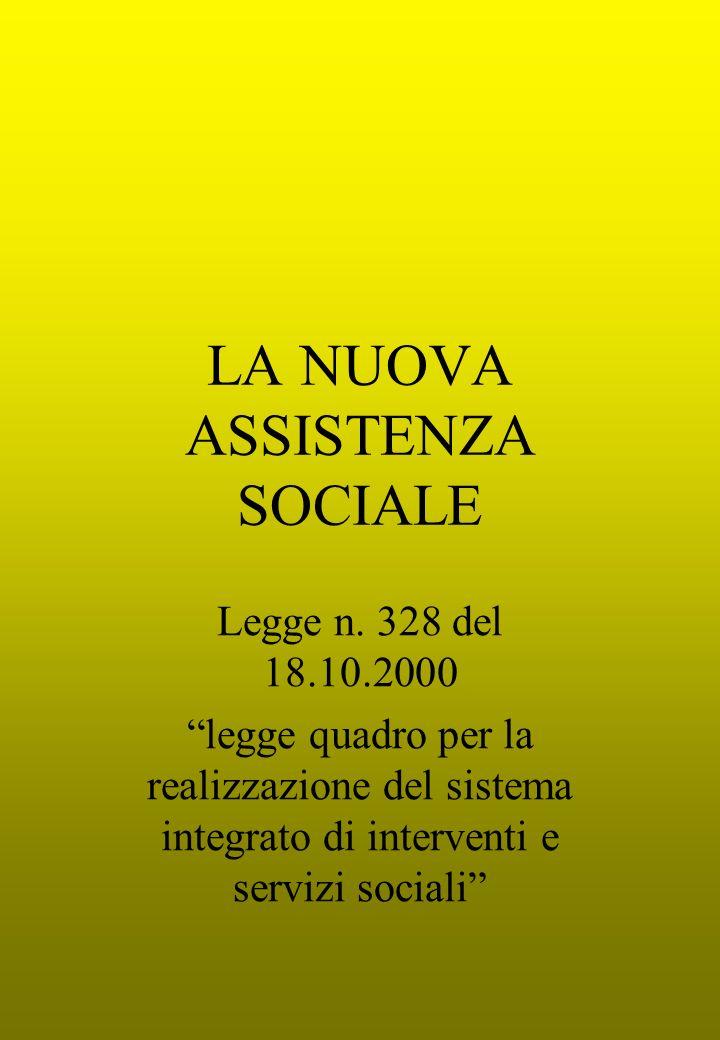 LA NUOVA ASSISTENZA SOCIALE Legge n. 328 del 18.10.2000 legge quadro per la realizzazione del sistema integrato di interventi e servizi sociali